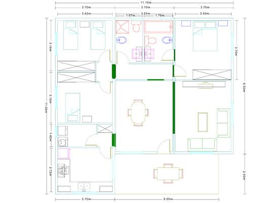 Plano Casa modular de madera modelo Mediterráneo