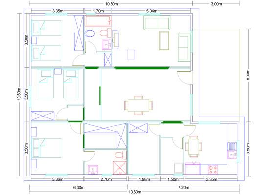 Casa de madera modular prefabricada plano