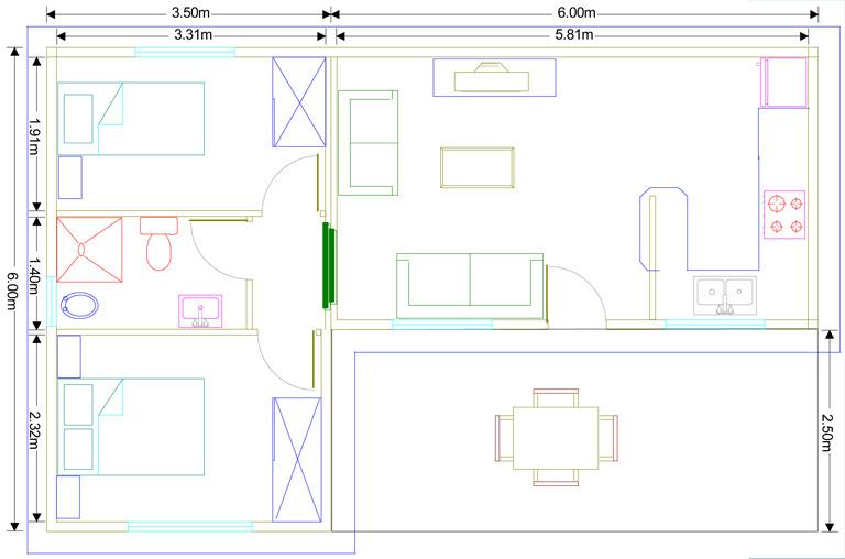 Plano casa prefabricada modelo Murcia