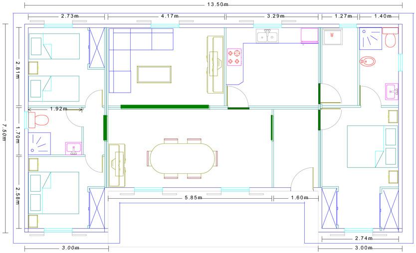 Plano casa prefabricada de madera modelo norteámerica